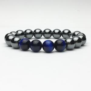 10mm Hematite and Blue Tiger Eye Beaded Bracelet