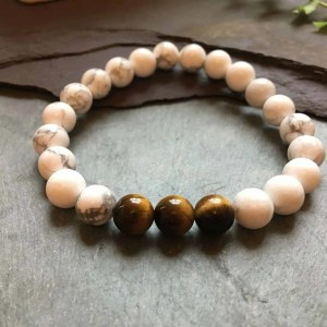 White Howlite and Tigers Eye Bead Fashion Stretch Bracelet