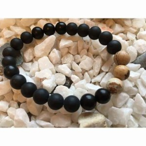 Matte Black Onyx and Picture Stone Fashion Bead Bracelet