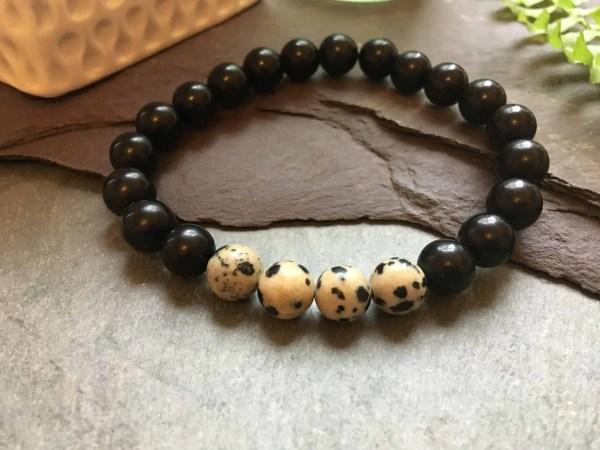 Black Polished Onyx and Dalmatian Jasper Fashion bead Bracelet