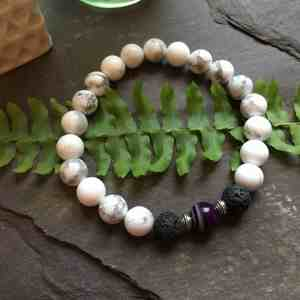 White Howlite, Purple Onyx and Lava Stone Bead Bracelet. Essential Oils Aromatherapy