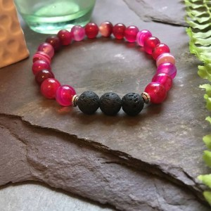 Pink/Red Onyx and Lava Stone Bead Bracelet.