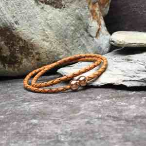 Tan Braided Leather Double Wrap Bracelet
