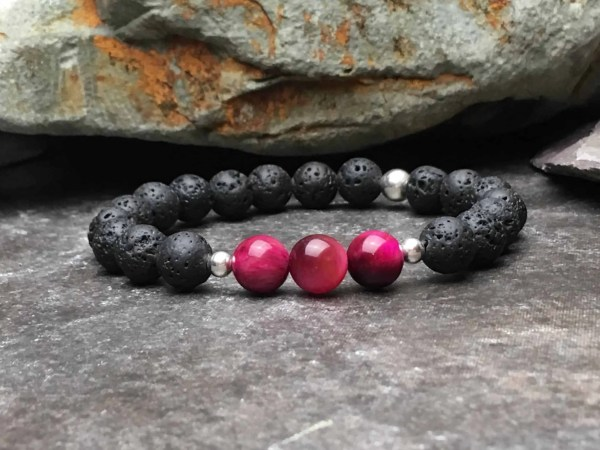 Rose Pink Tigers Eye and Lava Stone Diffuser Bracelet