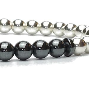 Luxurious 6mm Sterling Silver and Hematite Bead Bracelet