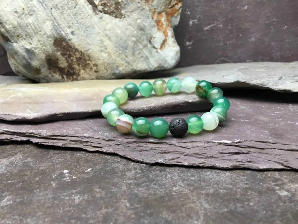 10mm GREEN ONYX AND LAVA STONE BRACELET