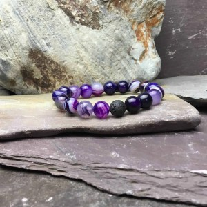 10mm PURPLE ONYX AND LAVA STONE BRACELET
