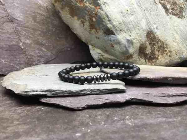 Onyx & Hematite 6mm Bead Bracelet