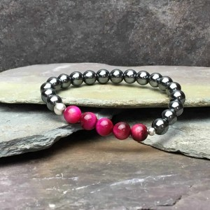 5 Pink Tigers Eye and Hematite Bead Bracelet
