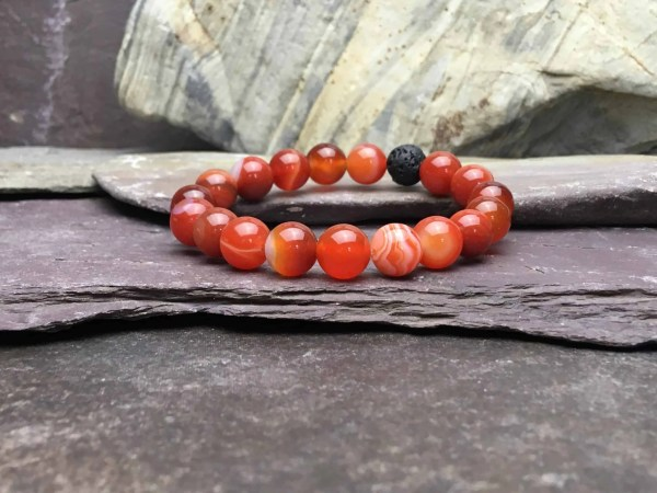 10mm Orange Agate Bead Bracelet