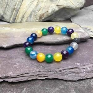 10mm Colourful Agate Bead Bracelet
