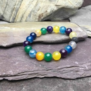 10mm Colourful Agate Bead Bracelet