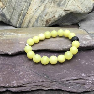 10mm Frosted Yellow Agate Bracelet
