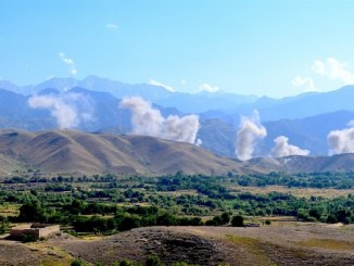 Bombs in a terrain denial air attack in foothills of eastern Afghanistan to prevent ISIS-K fighters from returning to territory they once held. 19 June 2018, NSOCC-A, U.S. Navy Lt. Amy Forsythe.