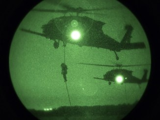 10th SFGA troops fastrope from UH-60 near Aalborg, Denmark. Photo by SSG Steven Young, SOCEUR, Sep 2, 2018.