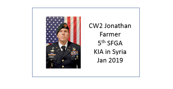 Jonathan Farmer, KIA in Syria, 2019, 5th Special Forces Group