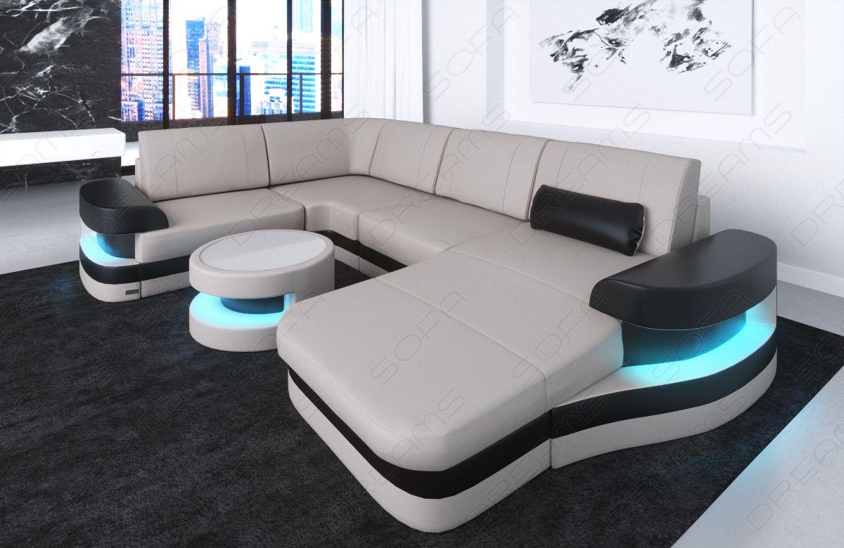 Store Moderne Laedersofaer Tampa U Form Led Mobler Sofadreams