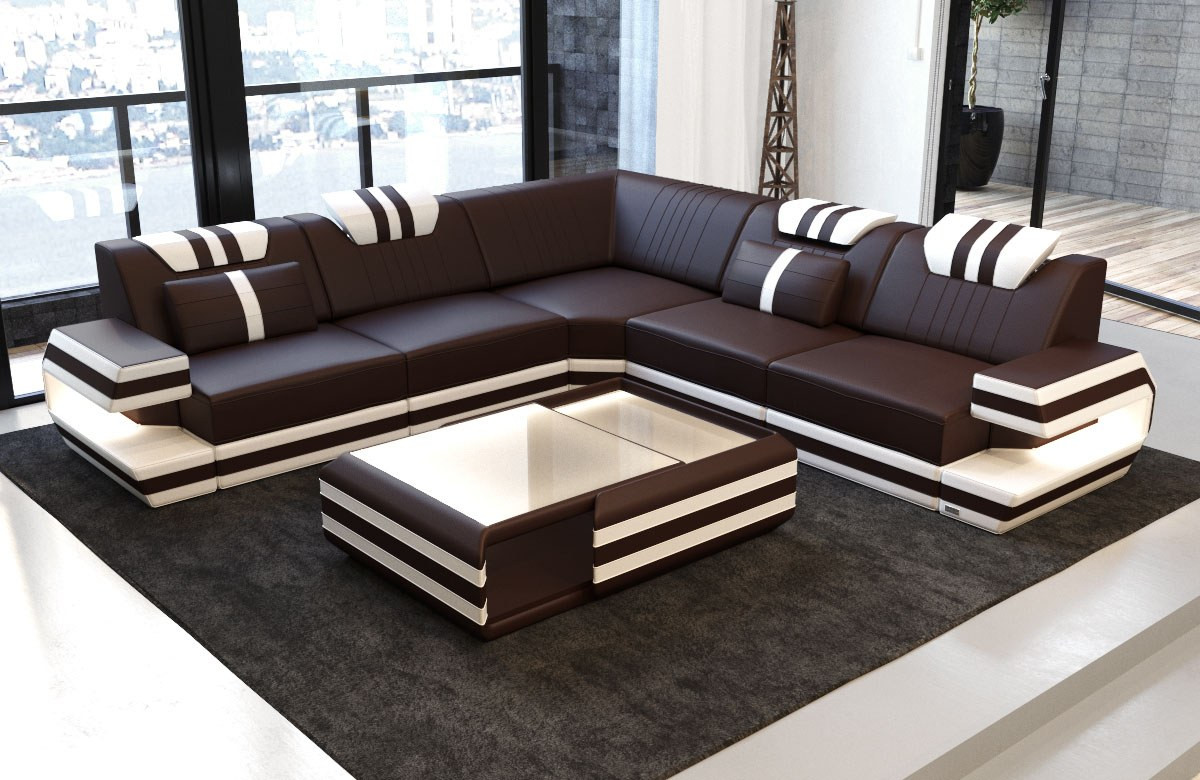 Design Laedersofa Antonio L Form Sofa Med Led Lys Moderne Stil Med Led Og Usb Sofadreams