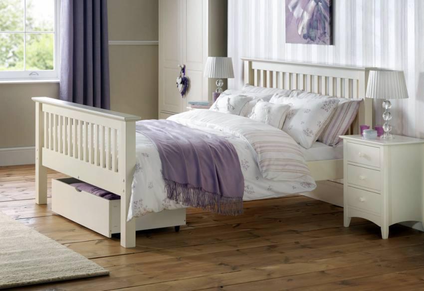 Julian Bowen Barcelona White Shaker Style Beds Single Double King Size High Foot End