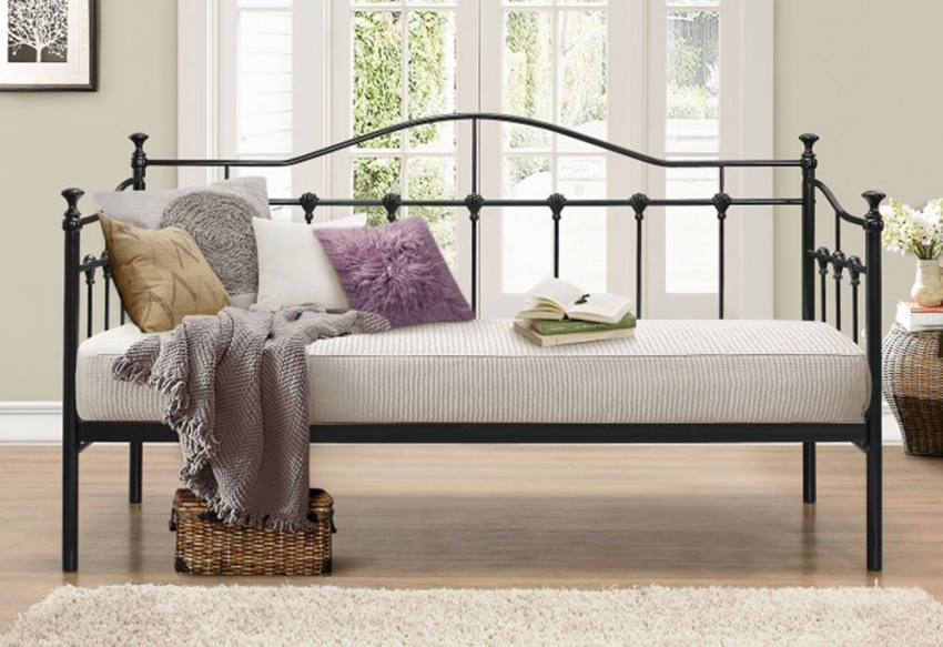 Birlea Furniture Torino Single Daybed Cream Or Black Wrought Iron With Or Without Comfort