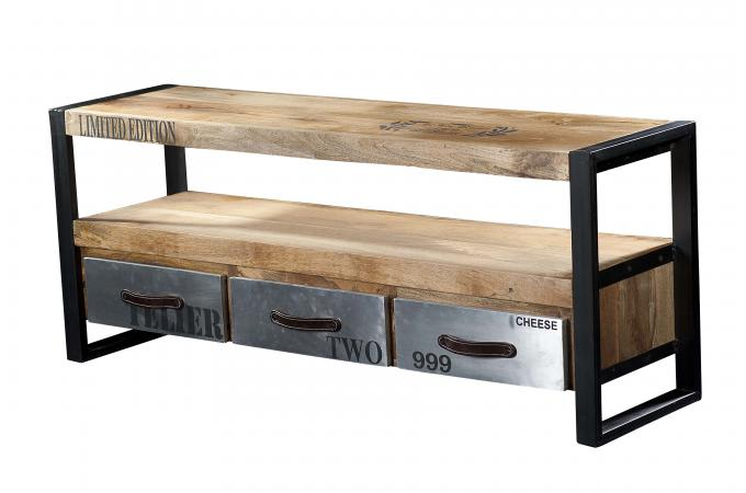 meuble tv en bois et metal chrome