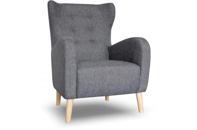fauteuil scandinave dossier haut tissu anthracite alienor