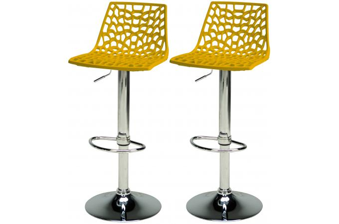 lot de 2 tabourets de bar ajustables jaune smart