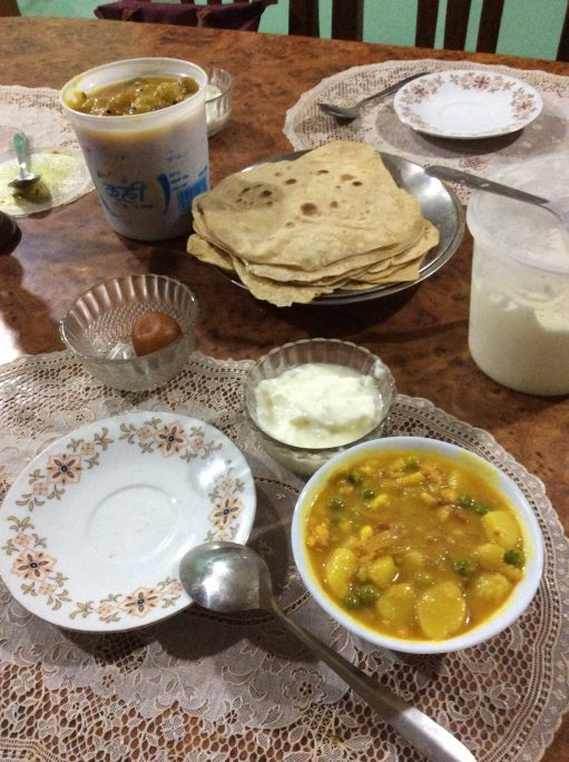 My beloved Indian most favourite dish: Aloo Matar (Potato with Peas) and Chapati