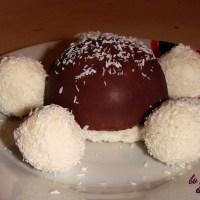 Dôme glacé à la Noix de Coco sous sa coque au chocolat et ses gourmandises