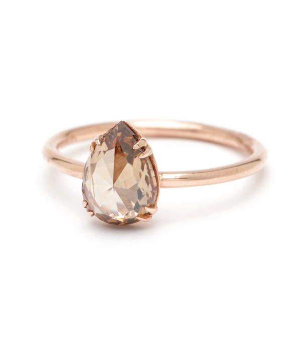 SK Archive Simple Solitaire Pear Shape Rose Cut 186ct