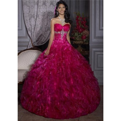 Elegant Ball Gown Red Organza Quinceanera Dress With