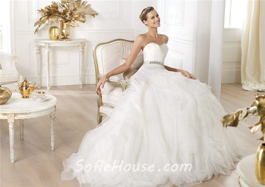 Princess Ball Gown Sweetheart Feather Neckline Layered