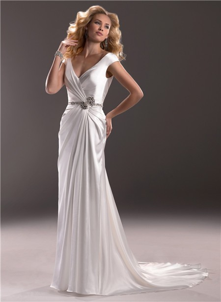 Sexy Sheath V Neck Low Back Satin Wedding Dress With Crystals Buttons