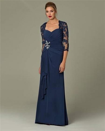 Navy blue long sleeve dress chiffon dress
