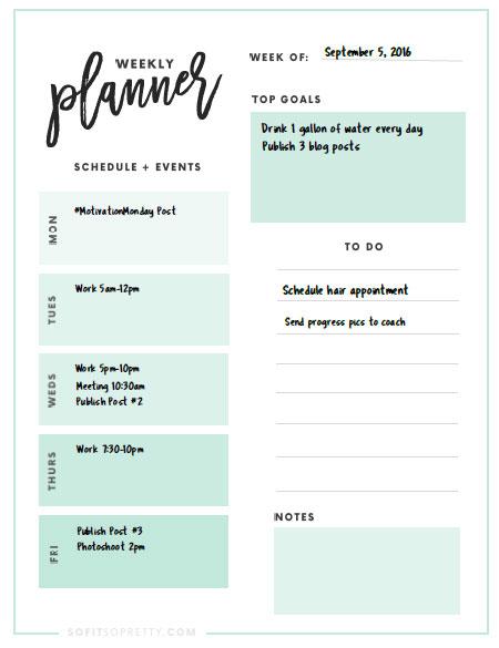 Free Printabe - Planner Weekly