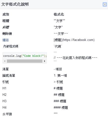 如何在 Facebook 社團活動功能透過 Markdown 美化文字內容 img-20-4