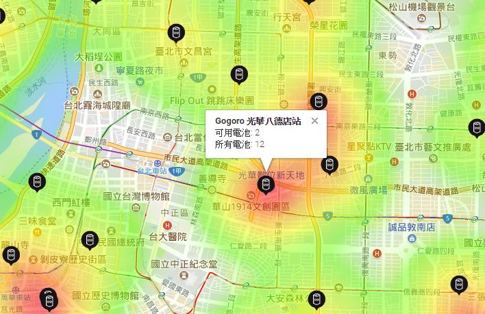 網友自製 Gogoro GoStation 換電站電池使用熱度圖,換電站可換電池一目了然 Image-029