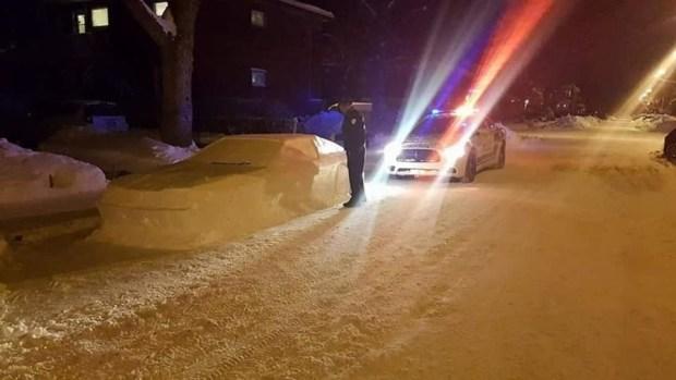 用雪堆雕出來的車,連警察也上當 snow-delorean-2-1