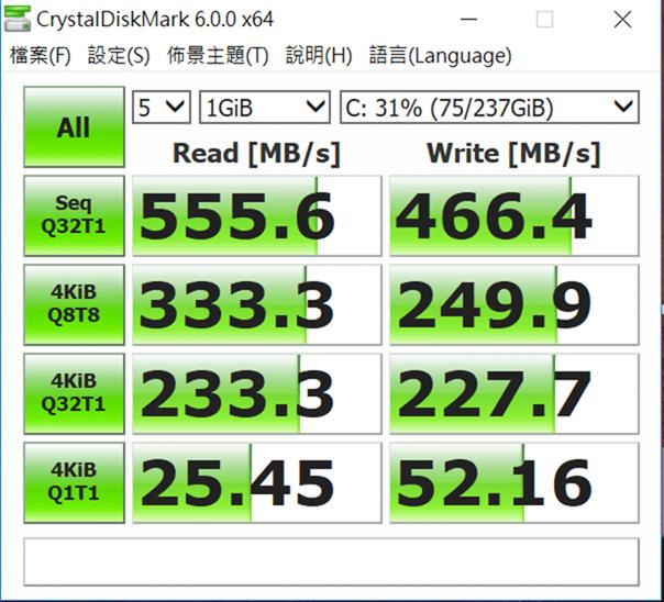 13 小時超長續航!ASUS ZenBook Flip 14 360° 翻轉筆電 評測 (UX461) CrystalDiskMark