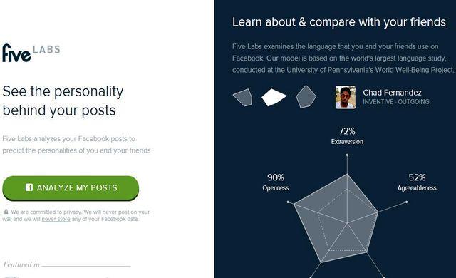 Five Five, sitio que analiza tu personalidad según tus posts en Facebook