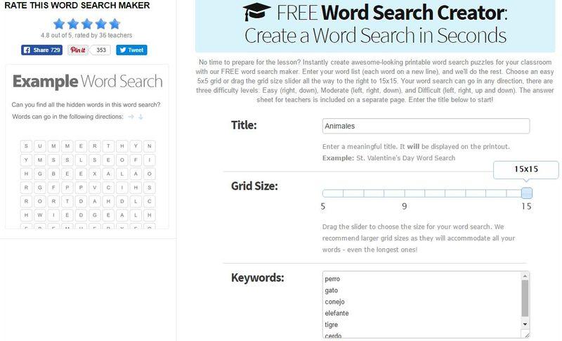 Crear Sopas de Letras para Imprimir Free Word Search Creator 5 páginas gratis para crear Sopas de Letras para imprimir