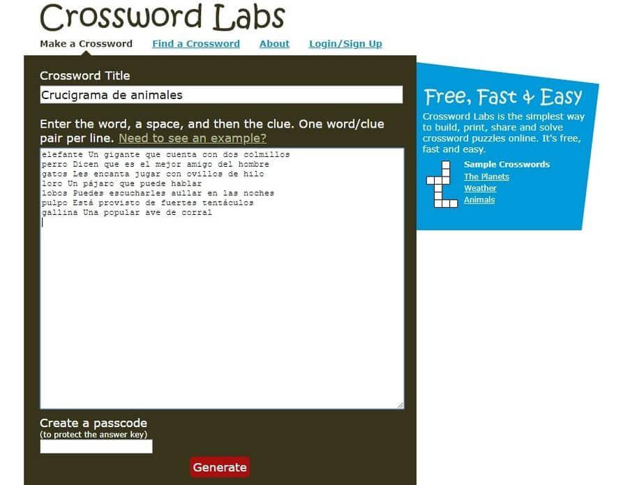 Generador de Crucigramas creando el pasatiempo Generador de Crucigramas para jugar online, descargar o imprimir