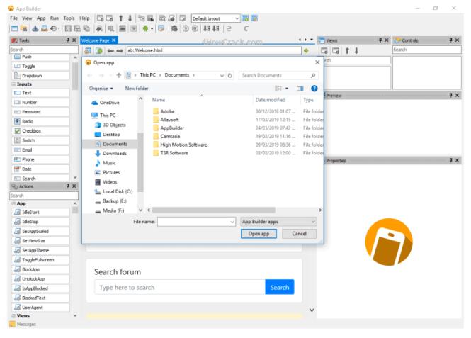 App Builder windows