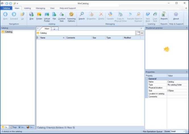 WinCatalog windows