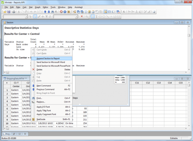 Minitab windows