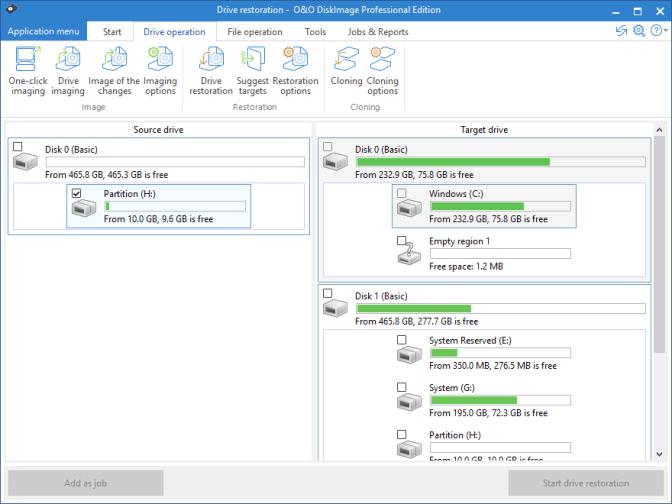 O&O DiskImage Professional Edition windows