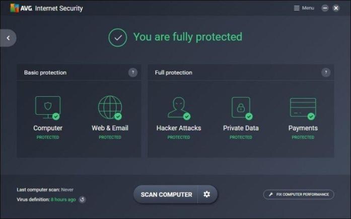 AVG Internet Security windows