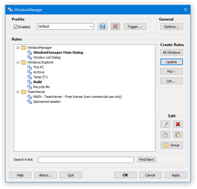 DeskSoft WindowManager windows
