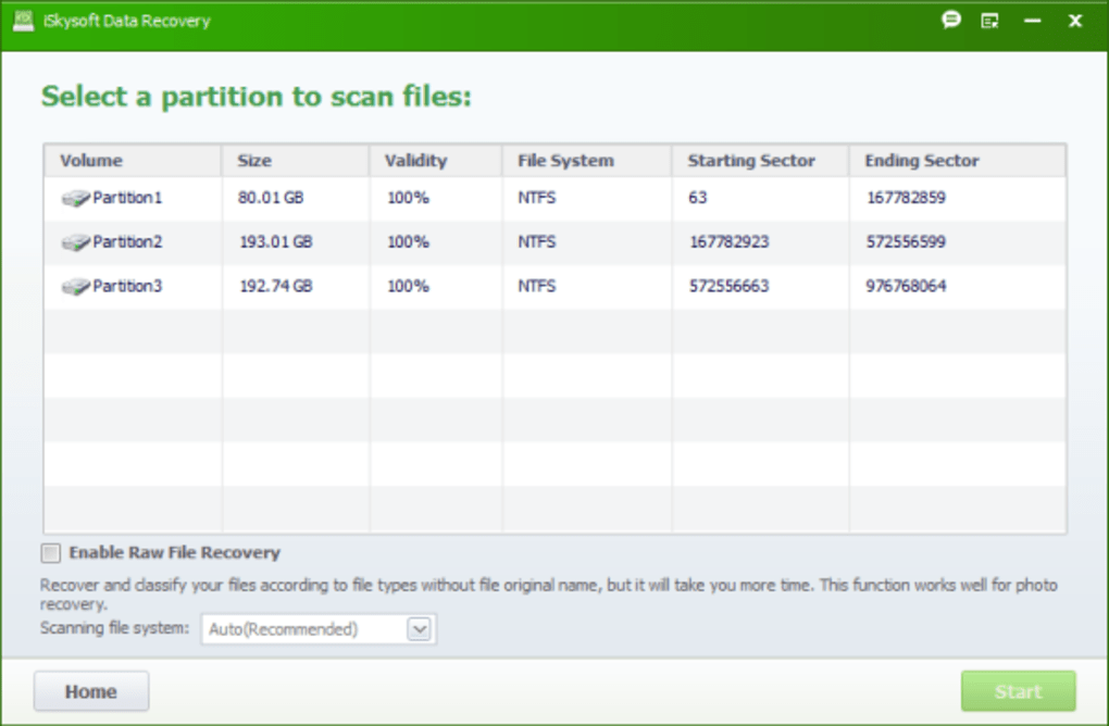 iSkysoft Data Recovery windows