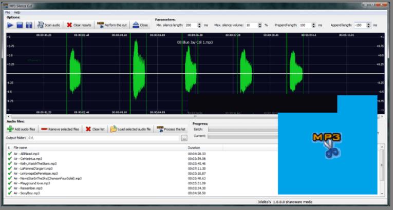 3delite MP3 Silence Cut windows